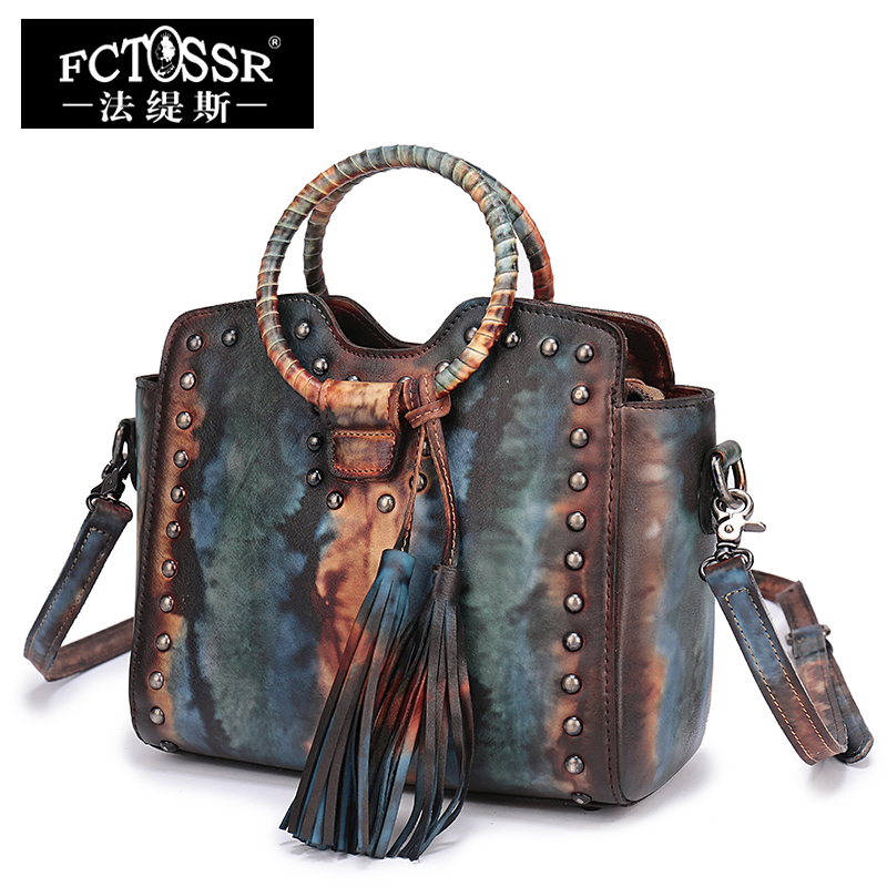 Guangzhou Handbag Leather Shoulder Bags Handmade Genuine Leather Round Handle Tote Vintage Cowhide Women's Handbags shanghai guangzhou 12 300mm