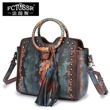 45b33549f01c Guangzhou Handbag Leather Shoulder Bags Handmade Genuine Leather Round Handle  Tote Vintage Cowhide Women s Handbags(