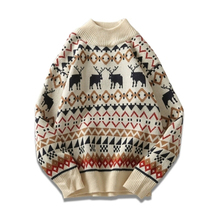 Harajuku Sweater With Deer Plus Size Mens Half-High Collar Knit Sweater Neck Hem Men Geometric Pattern Jumper Christmas 40MY019