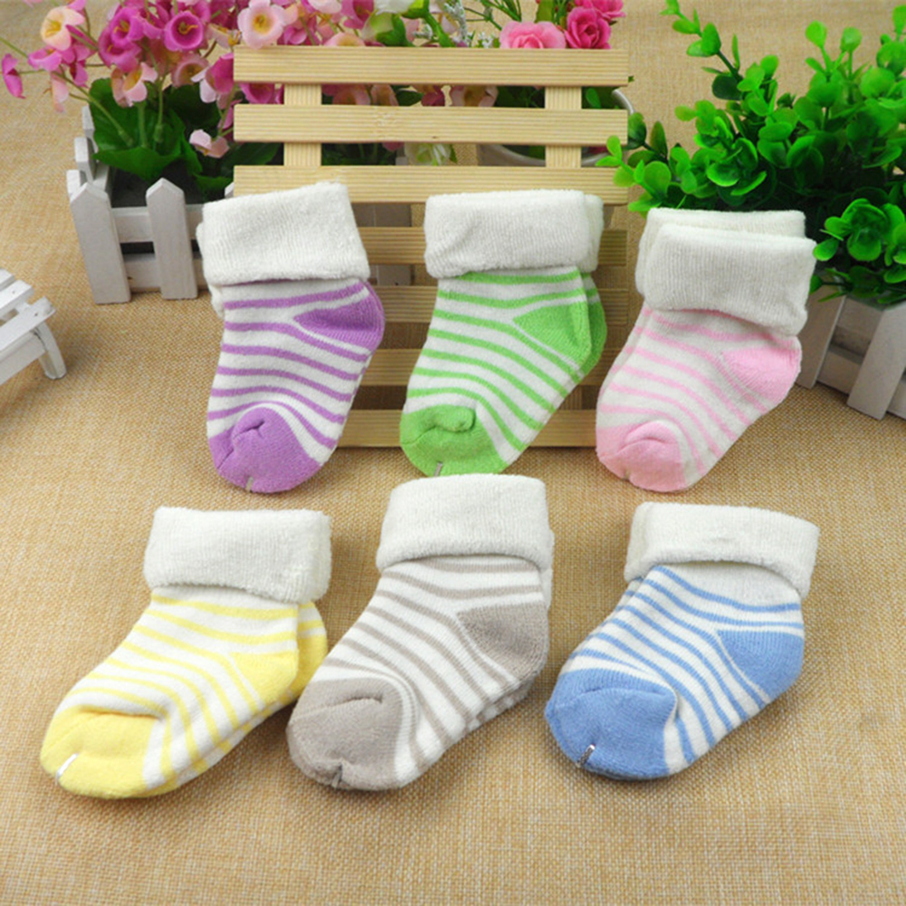 1 pair Socks Soft Cotton Striped Socks Baby Kids Toddlers Winter Spring Cotton Thicken Warm Socks 0-3 years