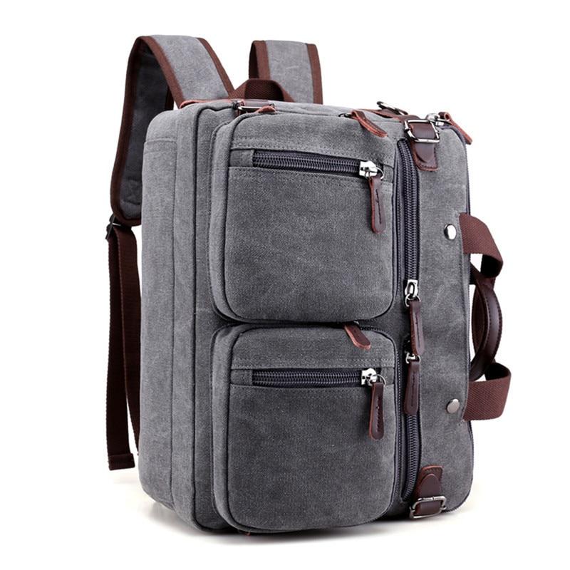 13 14 pouces toile Convertible pochette d'ordinateur multi-poche mallette sac à dos ordinateur portable messenger sac pour Macbook