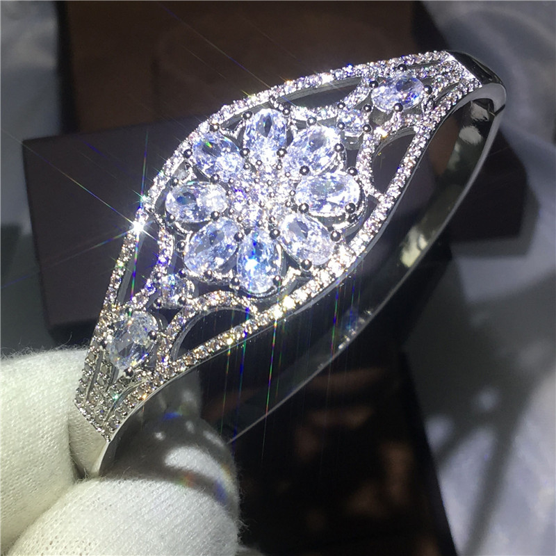 2017 Dazzling Flower Style bracelet 5A cubic zirconia White Gold Filled Party Engagement bangle for women wedding accessaries