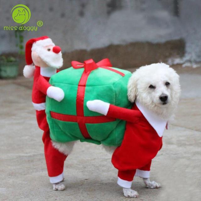 Foto Di Cani Vestiti Da Babbo Natale.Us 24 61 Miss Doggy Babbo Natale E Alce Disegno Divertente Cane Di Animale Domestico Costume Regalo Di Natale Porter Vestito Spogliatoio Up Del