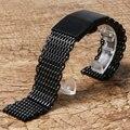22 mm malha de aço inoxidável Watch Band preto / prata de alta qualidade homens relógios cinta para relógio de forma