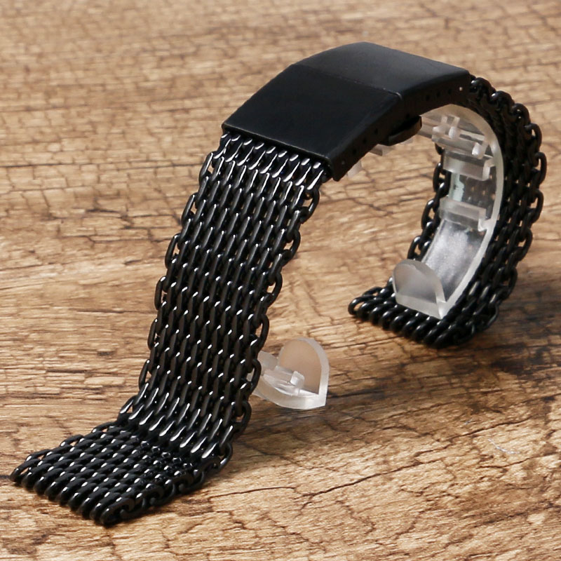 22mm Stainless Steel Mesh Watch Band Black/Silver High Quality Men Watches Strap For Fashion Watch ysdx 398 fashion stainless steel self stirring mug black silver 2 x aaa