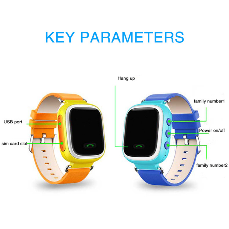 Coffre-fort enfants montre intelligente 1.22 pouces écran tactile montre-bracelet SOS appel localisateur GPS suivi montres pour enfants 2017