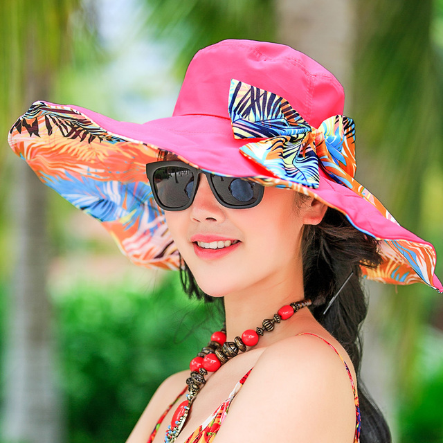 2016 Nuevo sol del verano del sombrero casquillo de la playa de Corea señora del borde grande plegable casco de sol protector solar Sombrero de Playa al aire libre B-2261