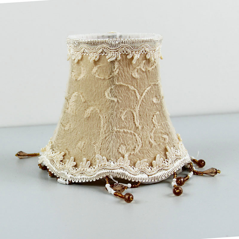 Flannel Beaded Lamp Shade Cloth Lampshade Cover Table Living Room Bedroom Lights Clip On