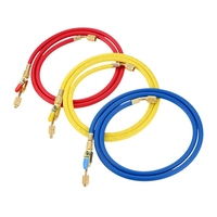 60 Inch R410A Hoses With Ball Valves For R22 R410A R404A R134A Refrigerant Manifold Gauge Set 3 Color Hoses In Red Blue Yellow