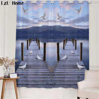 LzL Home wooden bridges scenic pattern window curtains for Bedroom 3d white pigeons blackout cortinas elegant Home Decoration