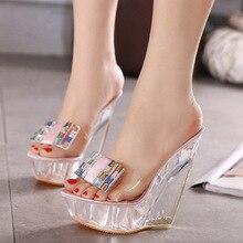 Fashion Diamond Crystal High Heel Slippers Women Summer Slip On Shoes Female Butterfly Knot Wedges Platform Gladiator Sandals