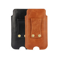 Cowhide Cow Genuine Leather Pouch Case Belt Clip Holster Cover For IPhone 7 For Iphone 8