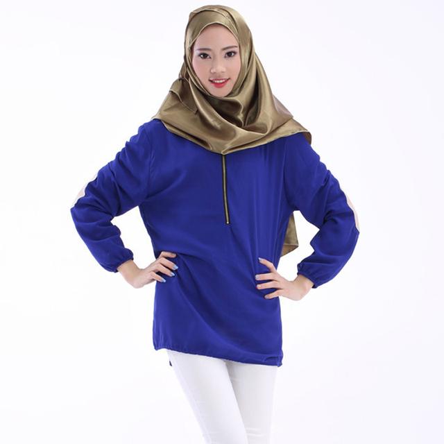 Turco Oriente médio Arábia Saudita islâmica vestuário Muçulmano Tops Blusa Top Camisa Roupas Chiffon de Manga Comprida Mulheres Roupas Islão