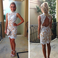 Sexy Vestido De Festa High Neck Short Cocktail Dresses 2014 Sleeveless Open Back White Lace Nude Lining Party Dress