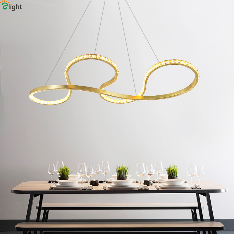 Modern Gold Aluminum Led Pendant Lights Crystal Dining Room Led Pendant Light Bedroom Led Pendant Lamp Hanging Light Fixtures 2017 modern luxury crystal pendant light gold for the restaurant bedroom lights led bulb gold