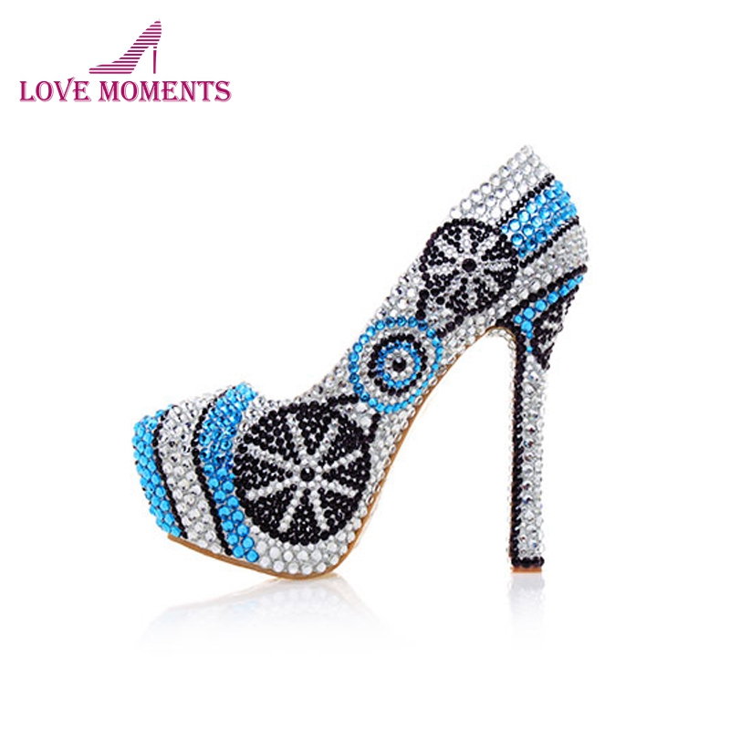 New Designer High Heel Shoes Handmade Crystal Platform Pumps Silver with Blue Rhinestone Wedding Shoes Bridal Party Prom Shoes aidocrystal new handmade crystal wedding shoes high heel rhinestone bridal shoes performance shoes flower women pumps decoration