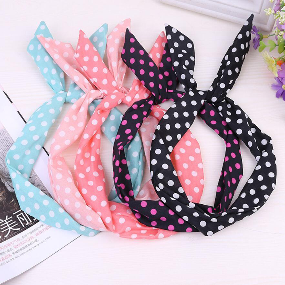10Pcs Wholesale Print Floral Dot Rabbit Ears Headdress Women Girls Headband Korean Cloth Fabric Bow Hair Accessories Headwear