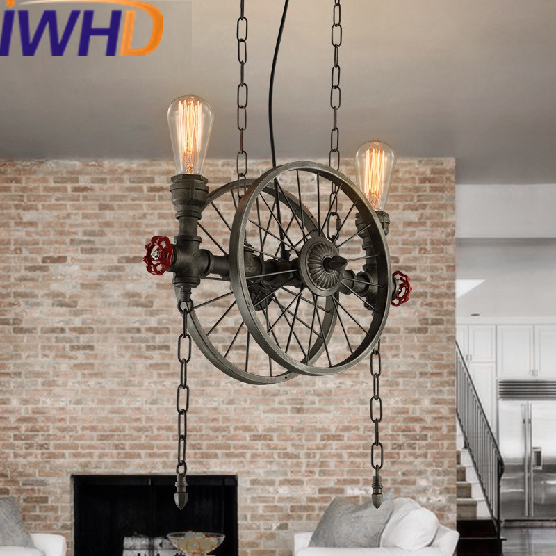 IWHD Water Pipe Pendant Light Fixtures Loft Vintage Lamp Creative Industrial Retro Hanging Lights Bar Cafe Suspension Luminaire rustic metal cage loft industrial pendant lamp cafe bar retro vintage light hanging lights fixtures lampara suspension luminaire
