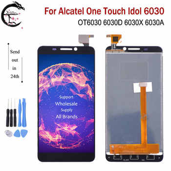 4,66  Полный ЖК дисплей для Alcatel One Touch Idol 6030 OT6030 6030D 6030X 6030A дисплей стекло сенсорный сенсор дигитайзер сборка