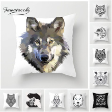 Fuwatacchi Animal Wolf Cushion Cover Head Painting Pillow Decor Home Sofa Chair Car Decorative White Pillowcases