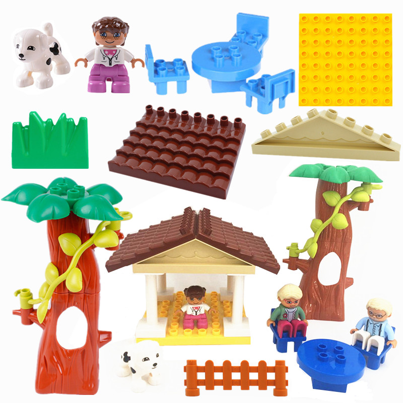 Single Sales Diy Happy House Accessories Blocks Big Size Play Bricks Compatible With L Brand Duploed Parts Kids Toy Baby