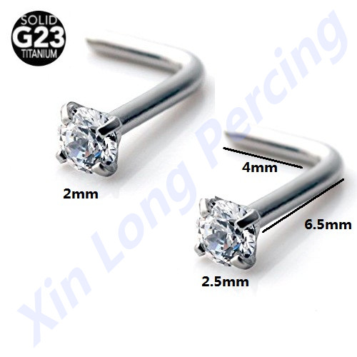 L Shaped Diamond Nose Rings