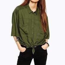 New Autumn Women Shirts Half Sleeve Green Loose Polo Neck Blouse Shirt Top Boyfriend Style Lace Up Hem