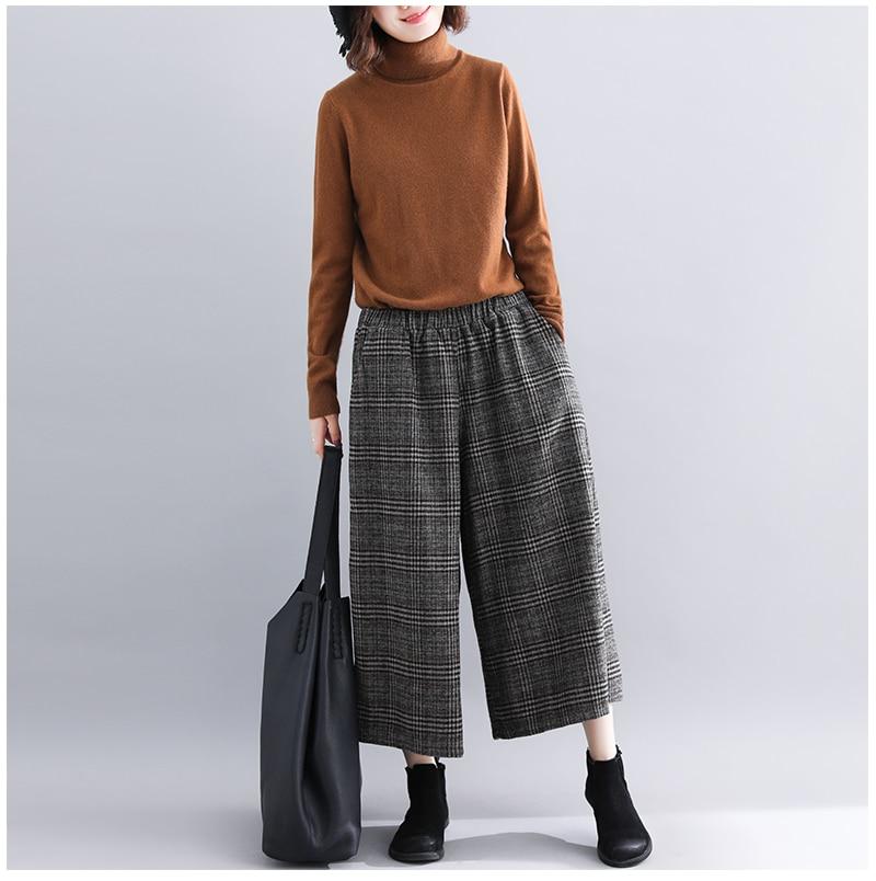 Plus Size Women Wide Leg Pants Autumn Harem Pants Plaid Casual Vintage Korean 2018 Oversize New Elastic Waist Woolen Pants 5