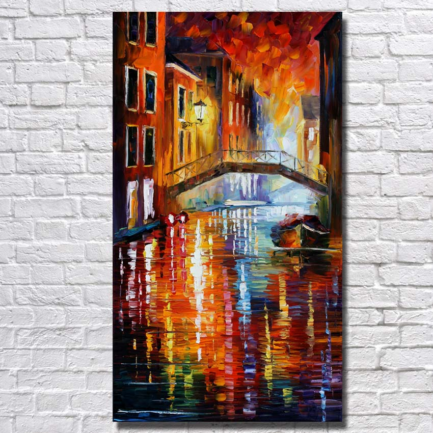 Home Decor Wall Painting Art Hand Painted River Scenery Canvas Living Room Wall Decor Knife Oil Painting no Framed