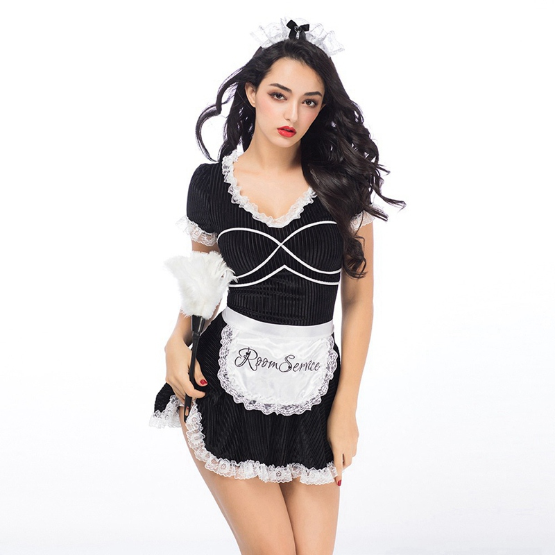 Adult Ladies Sexy French Maid Costume Black Denim Dress With All Accessories Women Erotic Housemaid Uniform For Sex Play