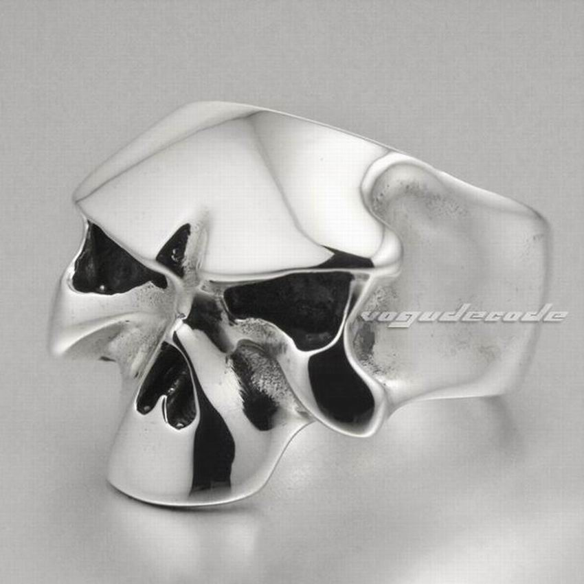 Solid 925 Sterling Silver Skull Mens Ring 8D008 Biker Rocker Ring US Size 8 to 13 r003 skull shaped titanium steel ring black silver us size 8