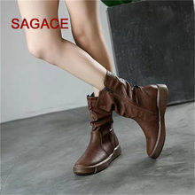 SAGSACE Women Leather Boots Flat Low Zipper Middle Tube Boots Casual Shoes Martin Boots(China)