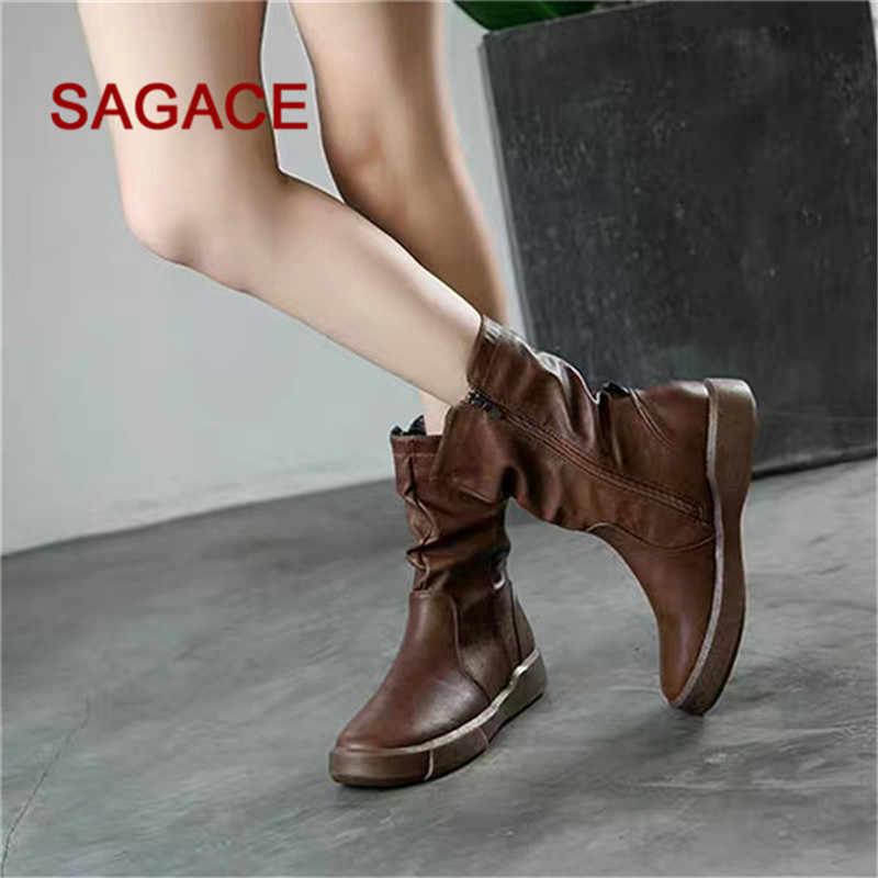 Sagsace Nữ Da Bò Phẳng Thấp Dây Kéo Giữa Ống Giày Giày Giày Bốt Martin