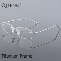 QIFENG Spectacle Frame Eyeglasses Women Men Computer Optical Prescription Male Titanium Rimless Clear Lens Glasses Frame QF239