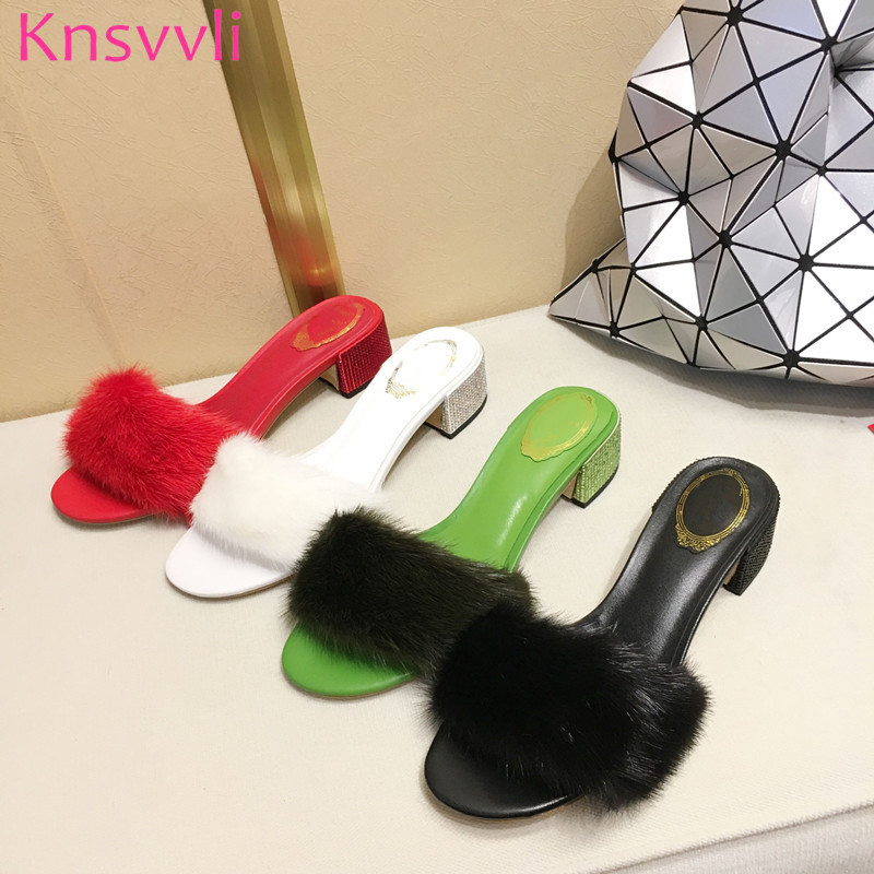 Fashion rhinestone studded  Heels genuine leather mules shoes women summer luxury mink hair chunky high heels slippers women