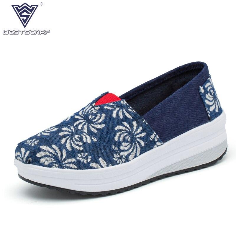 Mujeres Zapatos de Lona 4 cm Aumento de la Altura Mujeres Zapatos Casuales de Verano Otoño Oscilación Slip on Pisos Señoras Plataformas Sapato Feminino