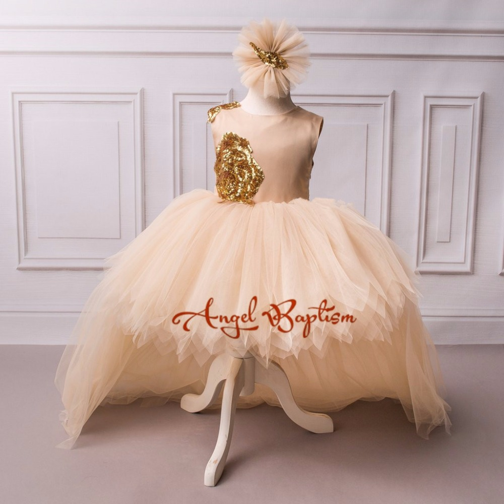 Luxury champagne flower girl dresses high-low sequined tulle flower dress with train baby first birthday princess pageant dressLuxury champagne flower girl dresses high-low sequined tulle flower dress with train baby first birthday princess pageant dress
