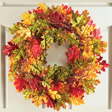 22 inch Autumn Harvest Fall Leaves Wall Door Wreath Rattan Twig for Thanksgiving Decoration