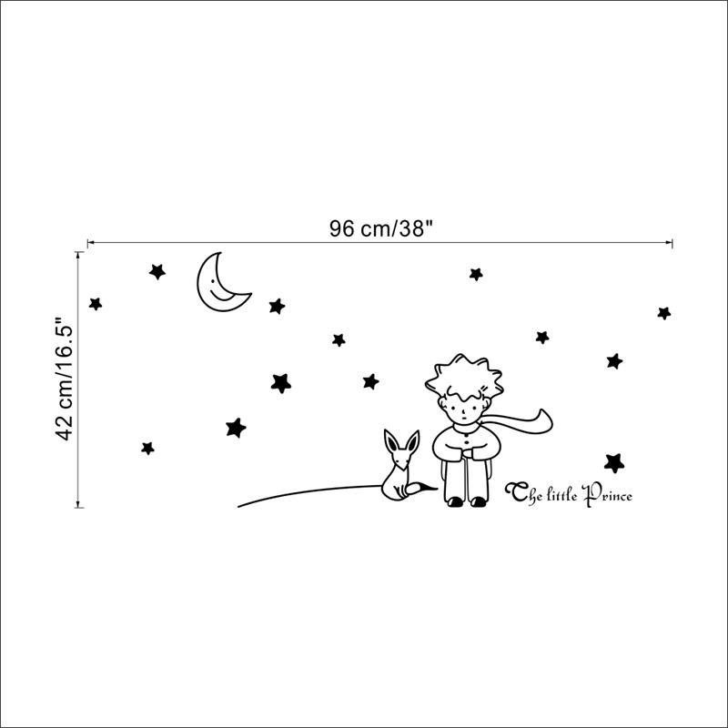 HTB1ndEzMpXXXXcbXXXXq6xXFXXXt - popular book fairy tale the Little Prince With Fox Moon Star wall sticker for kids room