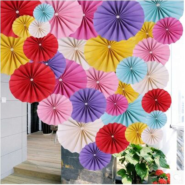 Diy Origami Fan Flower Wedding Decoration Window Background Paper Garland Festive Party Supplies Christmas