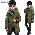 2016 New Winter Boys Cotton Long Coat Korean Style Children Winter Thicken Down Padded Warm Jacket Kids Hooded Outerwear Clothes
