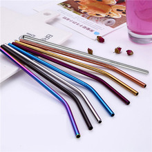 5pcs/lot Colorful Reusable Drinking Straw Stainless Steel Metal Straw with 1 Cleaner Brush For Home Party Bar Accessories