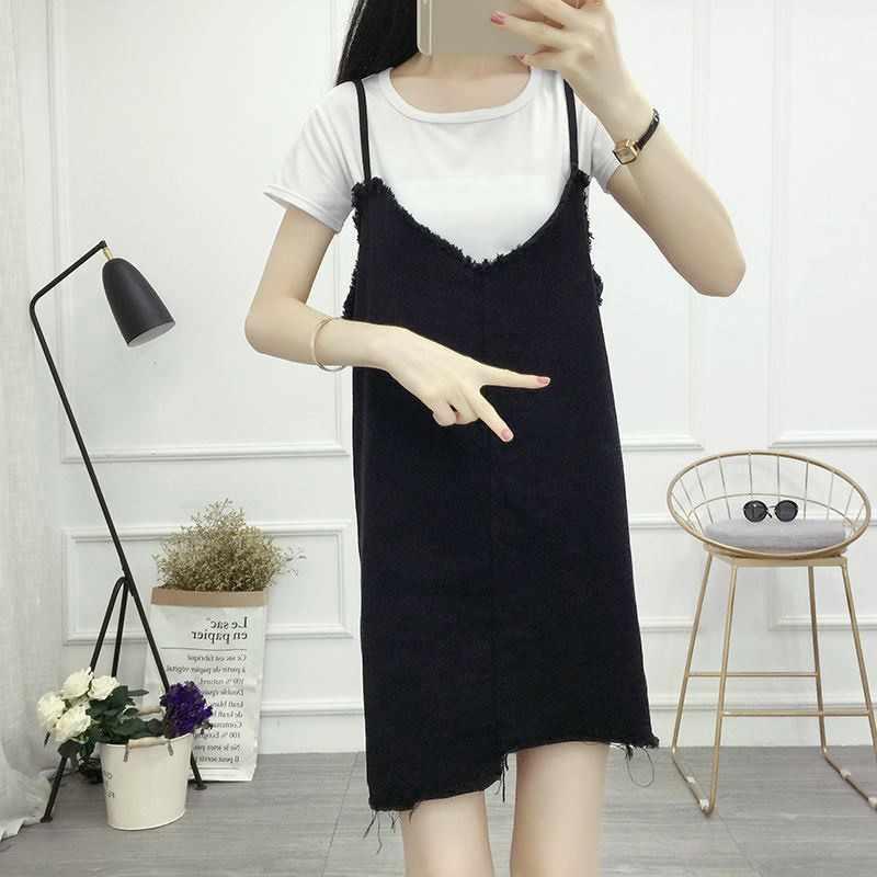 Женское свободное джинсовое платье без рукавов на бретельках, летнее джинсовое платье на бретелях для девочек