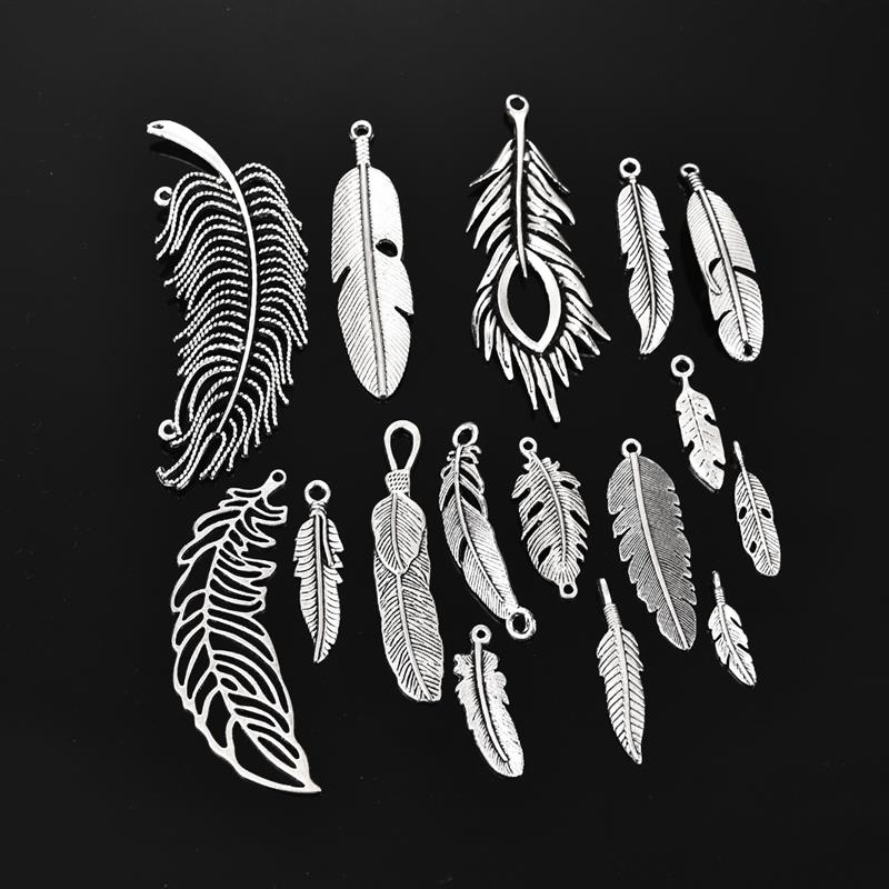 15pcs Antique Silver Feather Charms Pendants Vintage Alloy Metal Feather Charm For Bracelet Necklace DIY Jewelry Making Findings