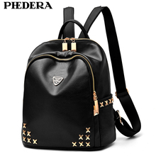 Phedera в Корейском стиле модные женские туфли из искусственной кожи рюкзак с заклепками для девочек школьная сумка женский черный рюкзак Новый туристический рюкзак Mochila Feminina