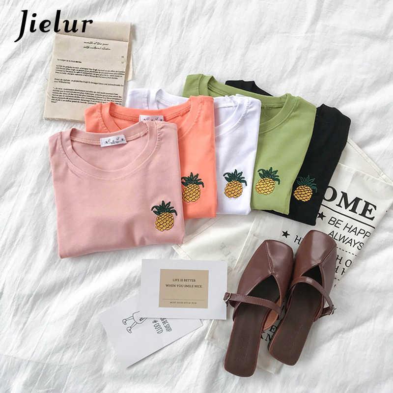 Jielur Корейская вышивка Футболка Женская мода 2019 розовая футболка с ананасом женский 5 цветов милая в стиле преппи базовый летний топ для девочек
