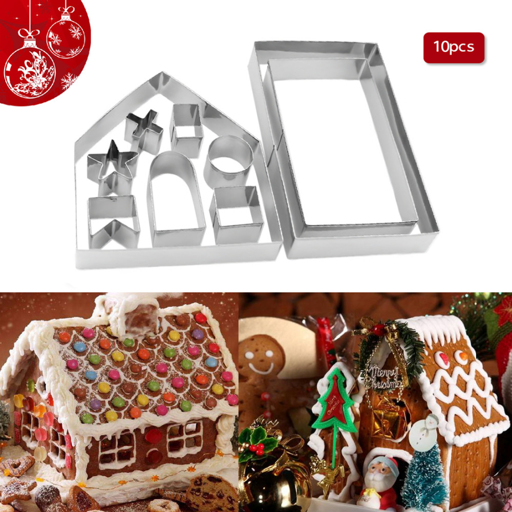 1 Set 3D Gingerbread House Cookie Cutter Set Stainless Steel Chocolate Mold Kit
