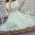 2017 de Las Mujeres de Kawaii Lolita Ángel Blanco Puro Suave Hermana Joven vintage girl fairy sweet ruffles hem collar de peter pan largo dress