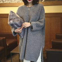 Knitting dress in long loose long-sleeved split hem pure color round collar female coat