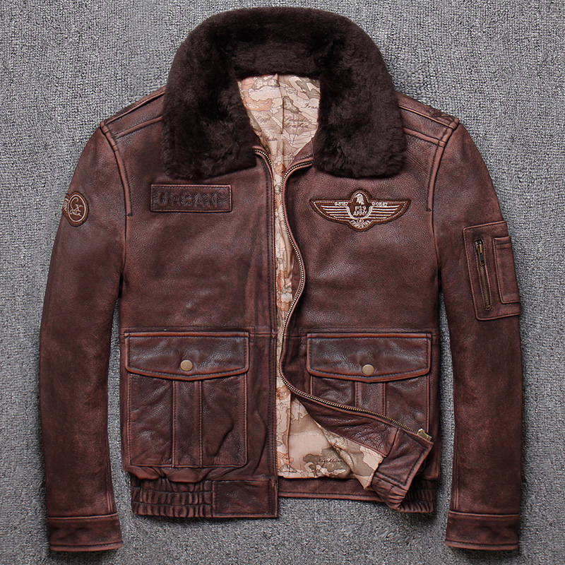 HTB1ndFdXOnrK1Rjy1Xcq6yeDVXai Brand new winter warm.Classic G1 style mens leather jacket,vintage cowhide Jackets,man genuine leather coat